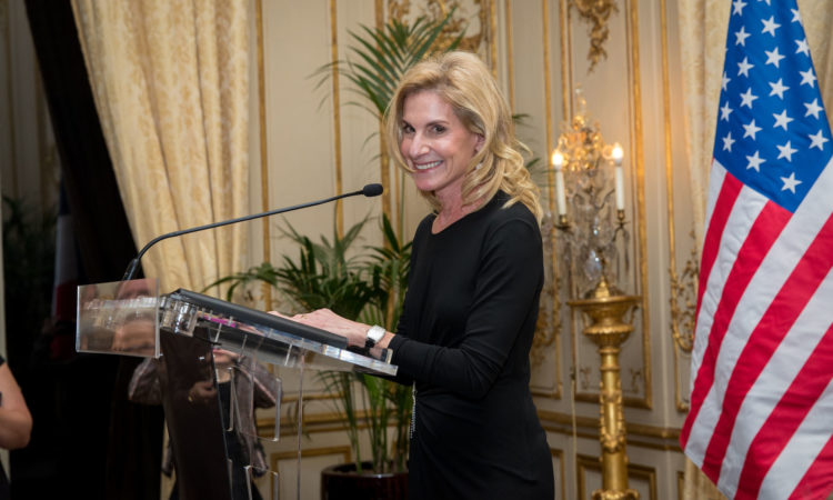 Ambassador McCourt delivering remarks during her welcome reception.