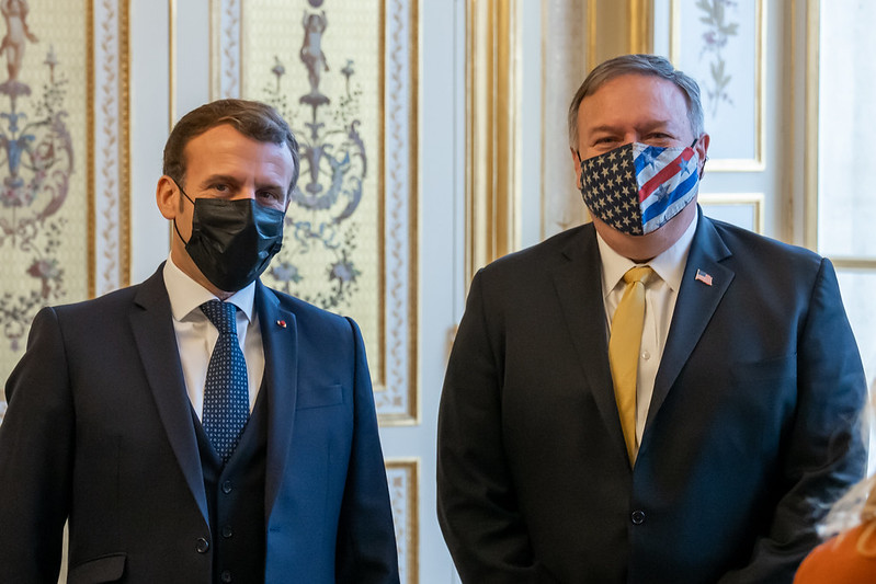 Secretary of State Michael R. Pompeo meets with French President Emmanuel Macron in Paris, France, on November 16, 2020.