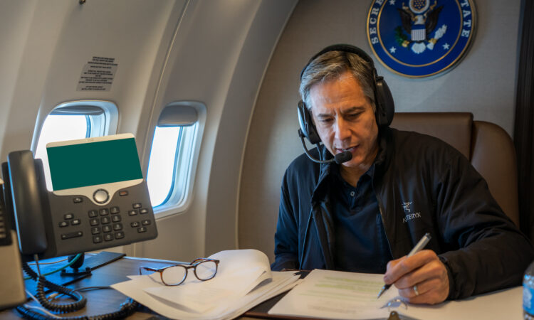 Secretary of State Antony J. Blinken makes calls to several foreign leaders, during his travel on May 16, 2021. [State Department photo by Ron Przysucha/ Public Domain]