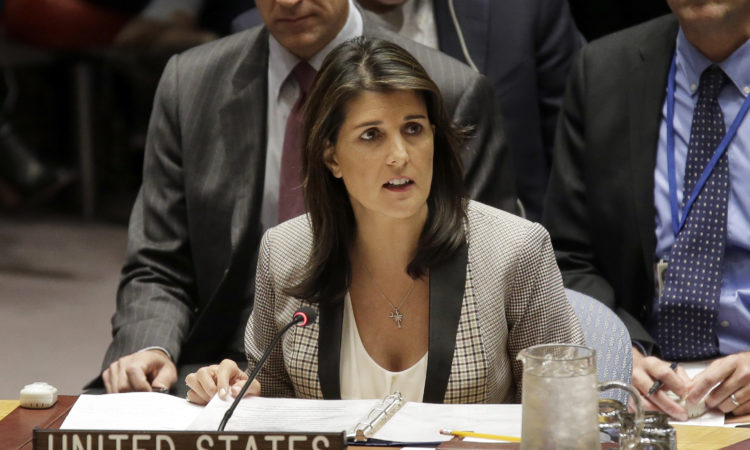 United States Ambassador to the United Nations Nikki Haley speaks during a security council meeting.