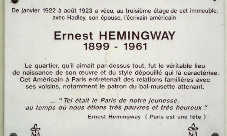 Rue_Cardinal_Lemoine-Plaque_Hemingway