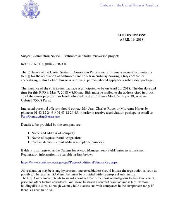 Solicitation Notice - BATHROOMS RENOVATION AT EMBASSY