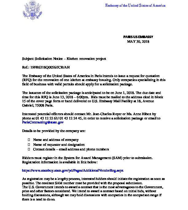 Solicitation Notice - RFQ 19FR6318Q0056- One kitchen