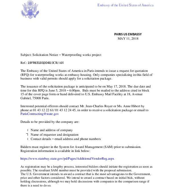 Solicitation Notice - WATERPROOFING WORKS 18Q0048   U S  Embassy