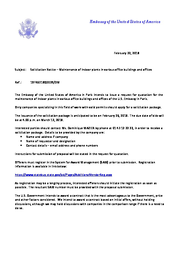 Solicitation Notice for the maintenance of indoor plants for various
