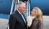 U.S. Secretary of State Rex Tillerson arrives in Paris on January 22, 2018, greeted by U.S. Ambassador to France Jamie McCourt.