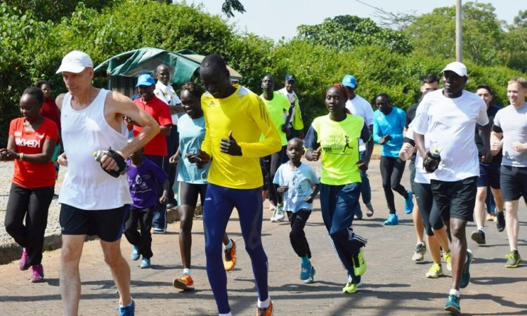 Ambassador and athletes running.