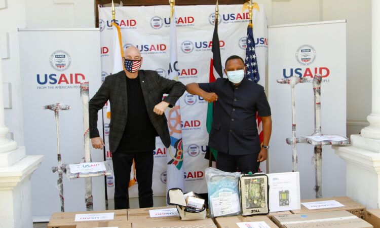 Photo 2- USAID Mission Director Mark Meassick delivers 14 new modern ventilators to Mombasa County to assist its fight against COVID-19