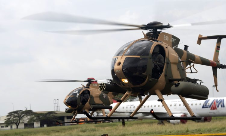 Photo 3 – Kenya Defence Forces pilots conduct a fly test of the six MD-530F helicopters purchased through the United States Fore
