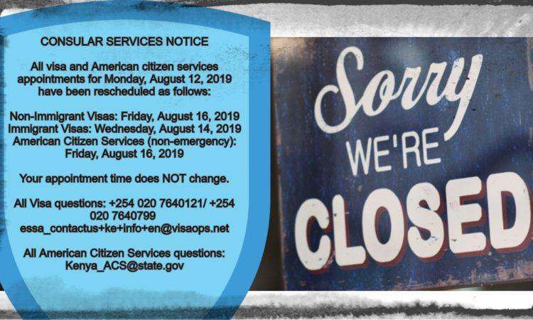 Consular Services Notice August 9, 2019