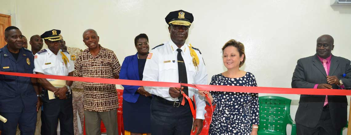 Ambassador Elder and Inspector General Sudue Unveil Liberia National Police E-Learning Lab