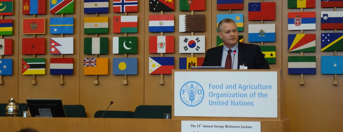 Dr. Christopher Barrett delivered the 15th Annual McGovern Lecture at FAO