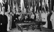US President Franklin D. Roosevelt with Allied Nations Representatives
