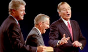 Clinton, Perot and Bush laugh at the conclusion of their 1992 Presidential debate in East Lansing