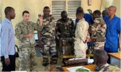 U.S. and Nigerien Soldiers working on reassembly of Allison Transmission