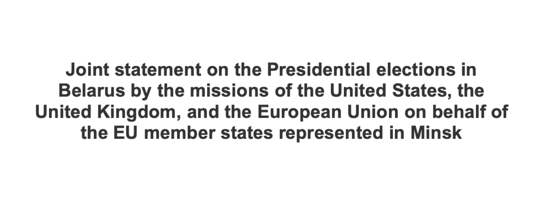 Statement on the Presidential elections in Belarus by the diplomatic missions in Minsk