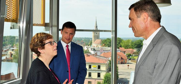 Ambassador Pettit, Cēsis mayor Rozenbergs, and Juris Žagars.