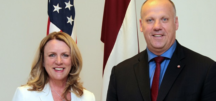 Close-up of Latvian Defense Minister Raimonds Bergmanis meet with United States Air Force Secretary Deborah Lee James