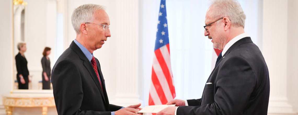 Ambassador John Carwile presents his credentials to the President of Latvia Egils Levits