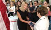 Ambassador Pettit greets a Fulbright scholarship recipient
