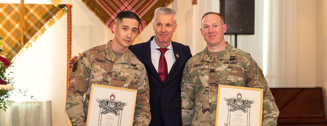 Minister of Defense Artis Pabriks awards U.S. soldiers for saving man's life
