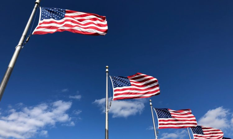 Flying U.S. flags