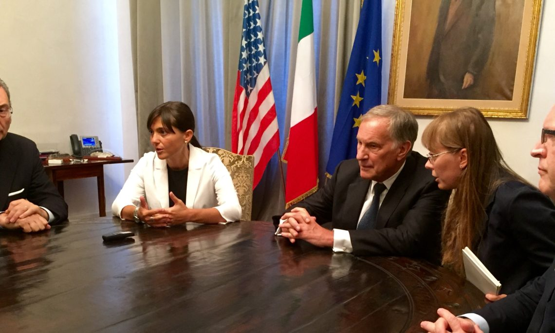 Ambassador John Phillips and Consul General Amb. Philip Reeker with Debora Serracchiani, President of Friuli Venezia Giulia