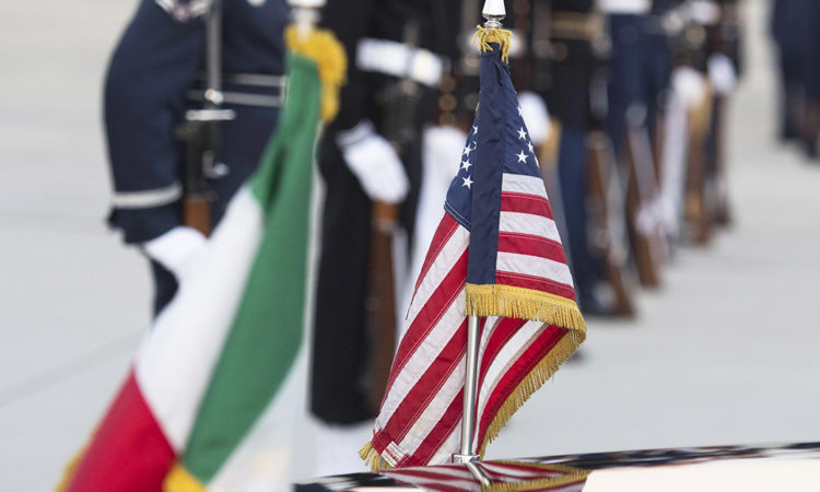 U.S. and Italian flags