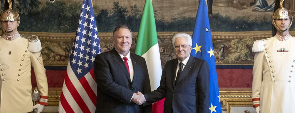 Il Segretario Pompeo in Italia per discutere della partnership transatlantica con Key Ally