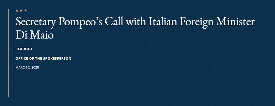 Il Segretario di Stato Pompeo chiama il Ministro degli Esteri italiano Di Maio