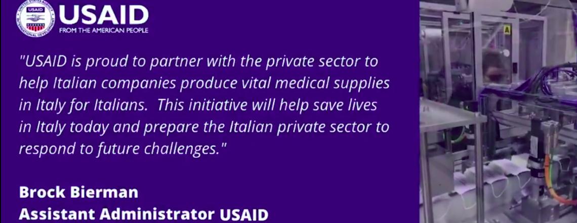 USAID Assistant Administrator Brock Bierman is proud to partner Italian companies