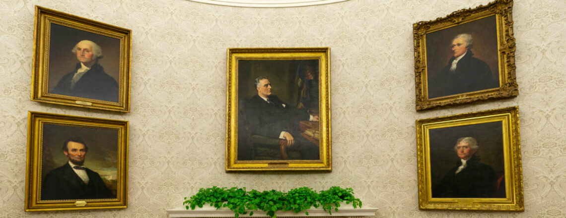 What's on the walls of Biden's Oval Office?