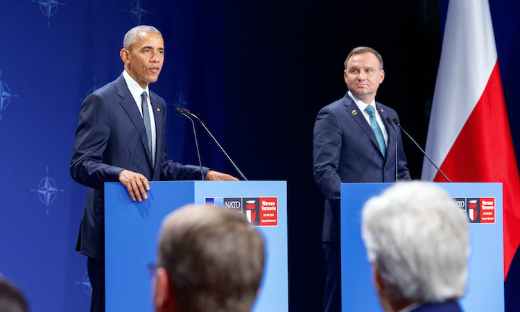 Obama and Duda speaking at podiums (Department of State)