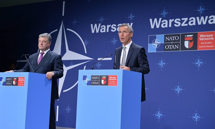 Poroshenko and Stoltenberg at Podiums (NATO)