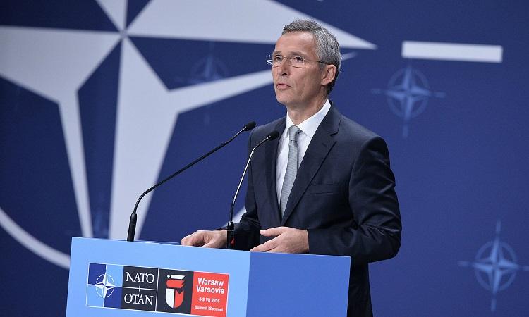 Stoltenberg at Podium (NATO)