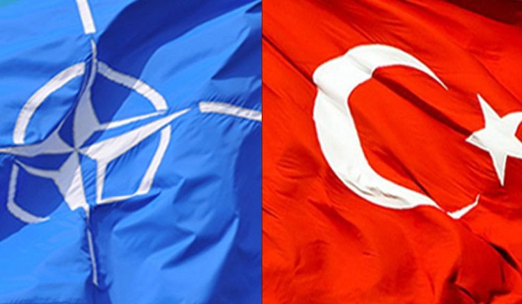 flags of NATO and Turkey