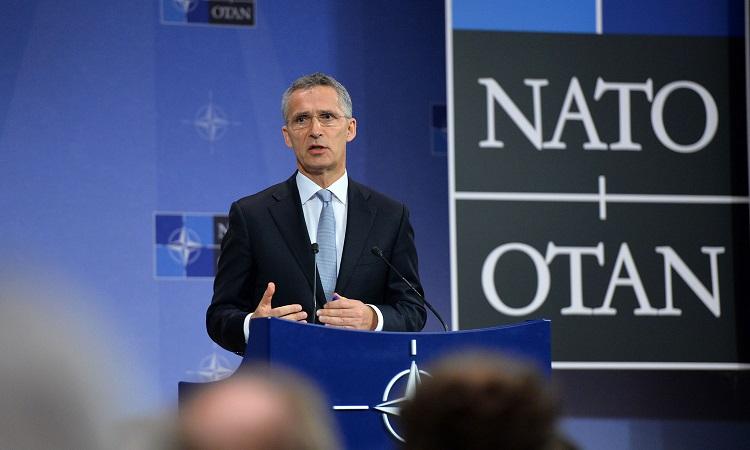 NATO SG at Podium
