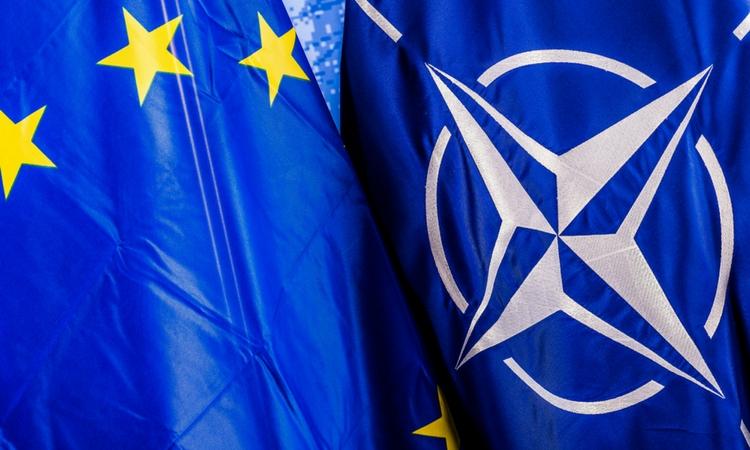 EU and NATO flags