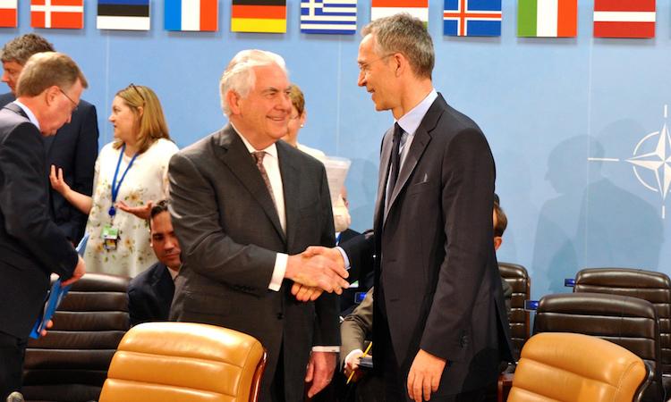 Sec Tillerson Shakes SecGen Stoltenbergs hand