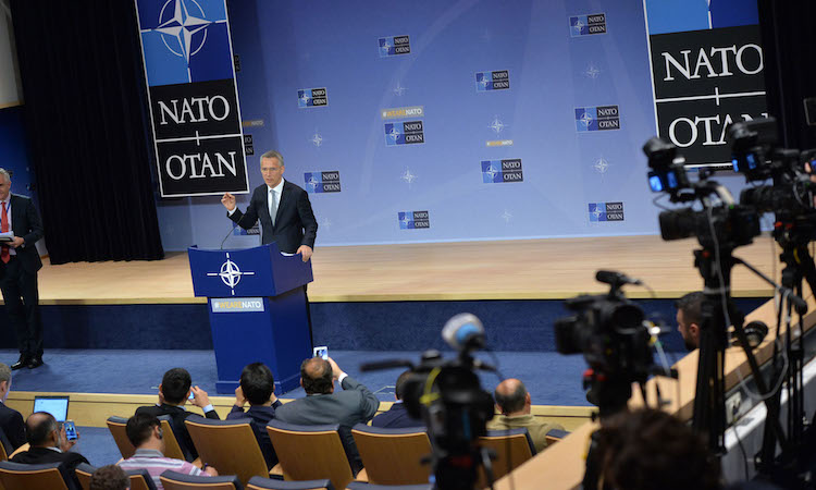NATO Secretary General at podium