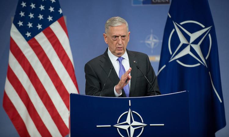 Secretary Mattis at NATO podium
