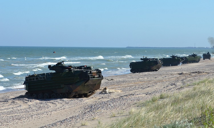 amphibious vehicles on beach in Latvia