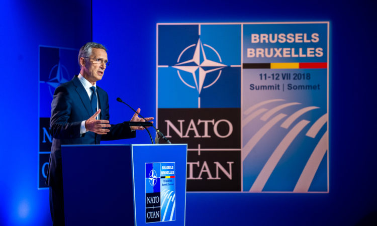 Secretary General Stoltenberg giving a press conference