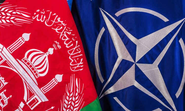 Flags of NATO and Afghanistan