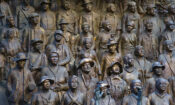 Closeup of figures inside the Texas African American History Memorial
