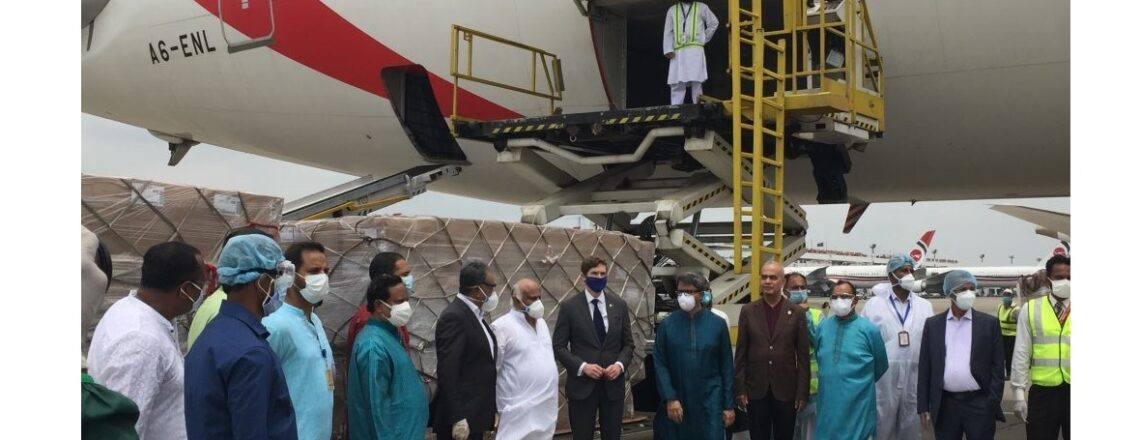 Amb. Miller joins Minister Alam, Beximco CEO Husain and others for 1st PPE shipment to USA