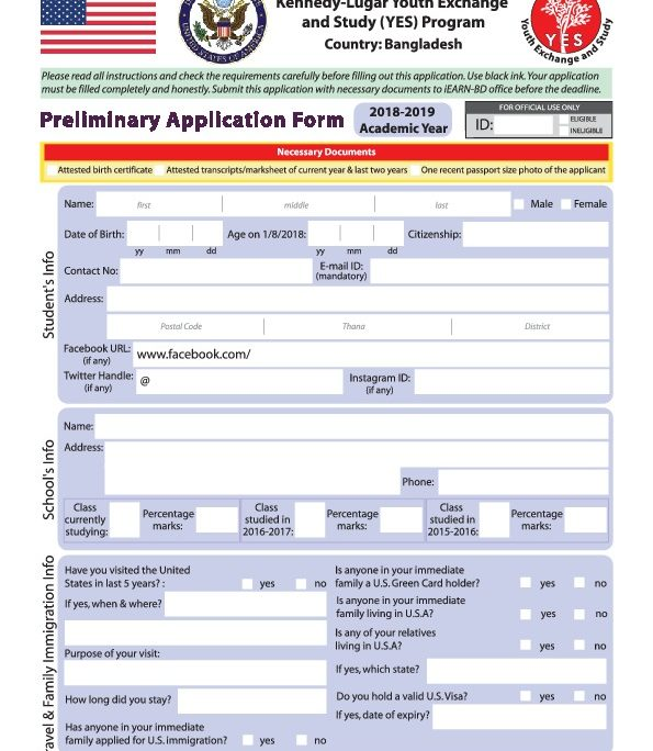 K L Yes 2018 19 Application Form U S Embassy In Bangladesh