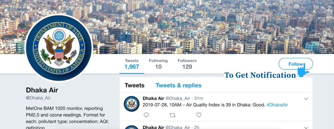 U.S. Embassy Dhaka Announces Air Quality Monitor Twitter Handle: @Dhaka_Air