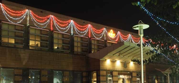 Lights on a building. (Photo Credit: State Department)