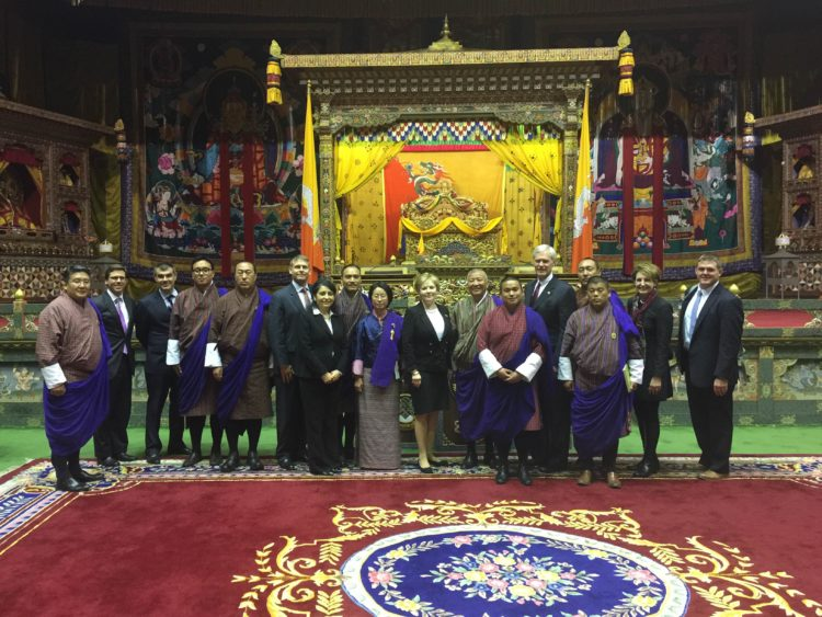 U.S. Representatives Kay Granger of Texas and Ander Crenshaw ‎of Florida meet their Bhutanese National Assembly counterparts.